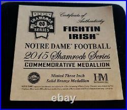 Notre Dame Shamrock Series Commemorative Medallion 2015 with COA & Velvet Case