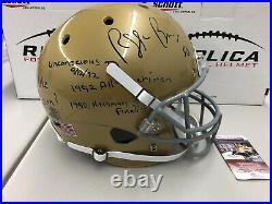 REGGIE BROOKS Signed Notre Dame Fighting Irish F/S Helmet 4 Inscriptions JSA COA