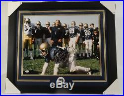 RUDY RUETTIGER NOTRE DAME 16x20 PHOTO FRAMED SIGNED with INSCRIPT with JSA COA