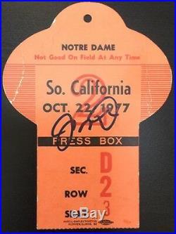 Rare 1977 Notre Dame Football Vs So. Cal Press Box Pass Signed Joe Montana Coa