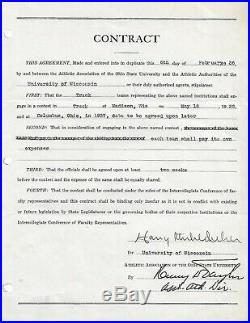 Rare Harry Stuhldreher Signed Contract Notre Dame Four Horsemen Beckett Coa