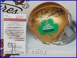 Rocket Ismail signed 88 Notre Dame Irish Champs Fiesta Bowl mini helmet JSA COA