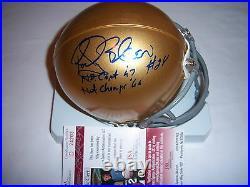 Rocky Bleier Notre Dame Fighting Irish, Steelers, Hof Jsa/coa Signed Mini Helmet