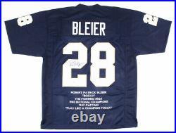 Rocky Bleier Signed Notre Dame Fighting Irish Career Stat Jersey (Beckett COA)