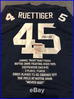 Rudy Ruettiger Autographed Signed Notre Dame Stat Jersey Jsa Coa