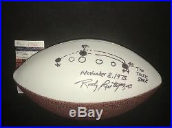 Rudy Ruettiger Notre Dame Autographed Signed Logo Football JSA COA THE SACK PLAY