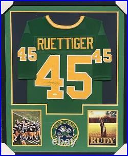 Rudy Ruettiger Notre Dame Fighting Irish Framed custom green jersey with JSA COA