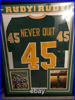 Rudy Ruettiger Notre Dame Framed signed/autographed jersey with JSA COA