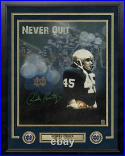 Rudy Ruettiger Notre Dame Never Quit Autographed 16x20 Framed Photo Rudy COA