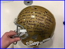 Rudy Ruettiger Notre Dame Signed FS Helmet w 5 ft Quote and The Sack JSA COA