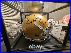 Rudy Ruettiger Notre Dame Signed Never Quit Full Sz Gold Replica Helmet JSA COA