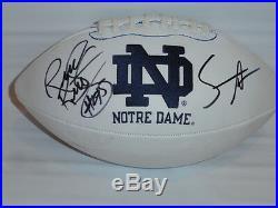 Rudy Ruettiger & Sean Astin Signed Notre Dame Fighting Irish Football Jsa Coa