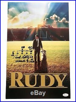 Rudy Ruettiger Signed 11x17 Movie Poster Hand Drawn Sack Play JSA COA Notre Dame