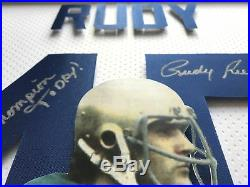 Rudy Ruettiger Signed 3d Jersey Photo Autograph Coa 16x20 Inscribed Notre Dame 2