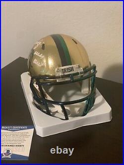 Rudy Ruettiger Signed Notre Dame Chrome Mini Helmet Ins. Never Quit. Beckett COA