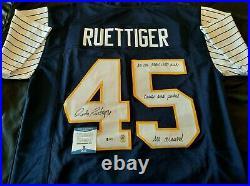Rudy Ruettiger Signed Notre Dame Shamrock Series Inscribed jersey. Beckett COA