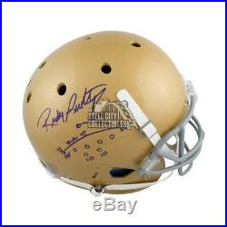 Rudy Ruettiger The Play Autographed Notre Dame Full-Size Football Helmet JSA COA