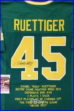 Rudy Ruettiger signed Notre Dame Fighting Irish Stat Jersey Autograph JSA COA