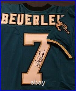 STEVE BEUERLEIN signed JAGUARS JERSEY INAUGURAL SEASON 95 Patch COA NOTRE DAME