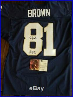 Tim Brown Autographed Notre Dame Jersey With Heisman Inscription GA COA