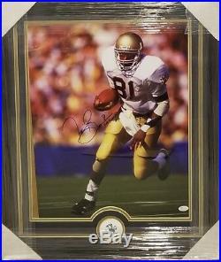 Tim Brown Notre Dame Autographed Custom Framed 16 × 20 Photo. 87 Heisman Jsa Coa