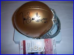 Tim Brown Notre Dame, Heisman 87, Raiders Jsa/coa Signed Mini Helmet