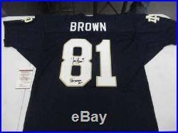 Tim Brown Signed Auto Inscribed Size 52 Notre Dame Jersey Jsa Coa Jsy680