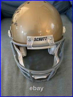 Tim Brown Signed Autographed Notre Dame Gold Full Size Schutt Helmet Coa & Stats