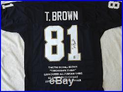 Tim Brown Signed Notre Dame Stat Jersey Gtsm Witnessed Coa Brown Hologram