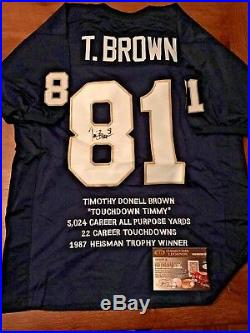 Tim Brown signed Notre Dame Stat Jersey autographed Authentic Heisman Winner COA