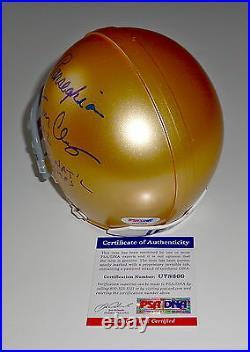 Tom Clements & Ara Parseghian Signed Notre Dame Mini Helmet Psa Coa U78660