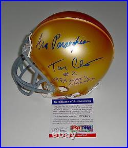 Tom Clements & Ara Parseghian Signed Notre Dame Mini Helmet Psa Coa U78661