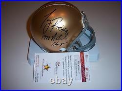 Tony Rice Notre Dame1988 National Champs Last One Jsa/coa Signed Mini Helmet