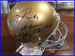 Tony Rice Signed Notre Dame Full Size Helmet with 3 Inscriptions JSA Witnessed COA
