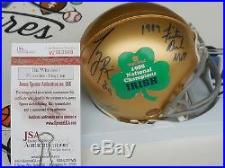 Tony Rice signed 1988 Notre Dame Irish Champs Fiesta Bowl mini helmet JSA COA
