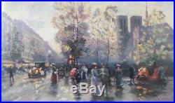 Valery Gromov Landscape With Notre Dame Giclee On Canvas, Signed, Coa